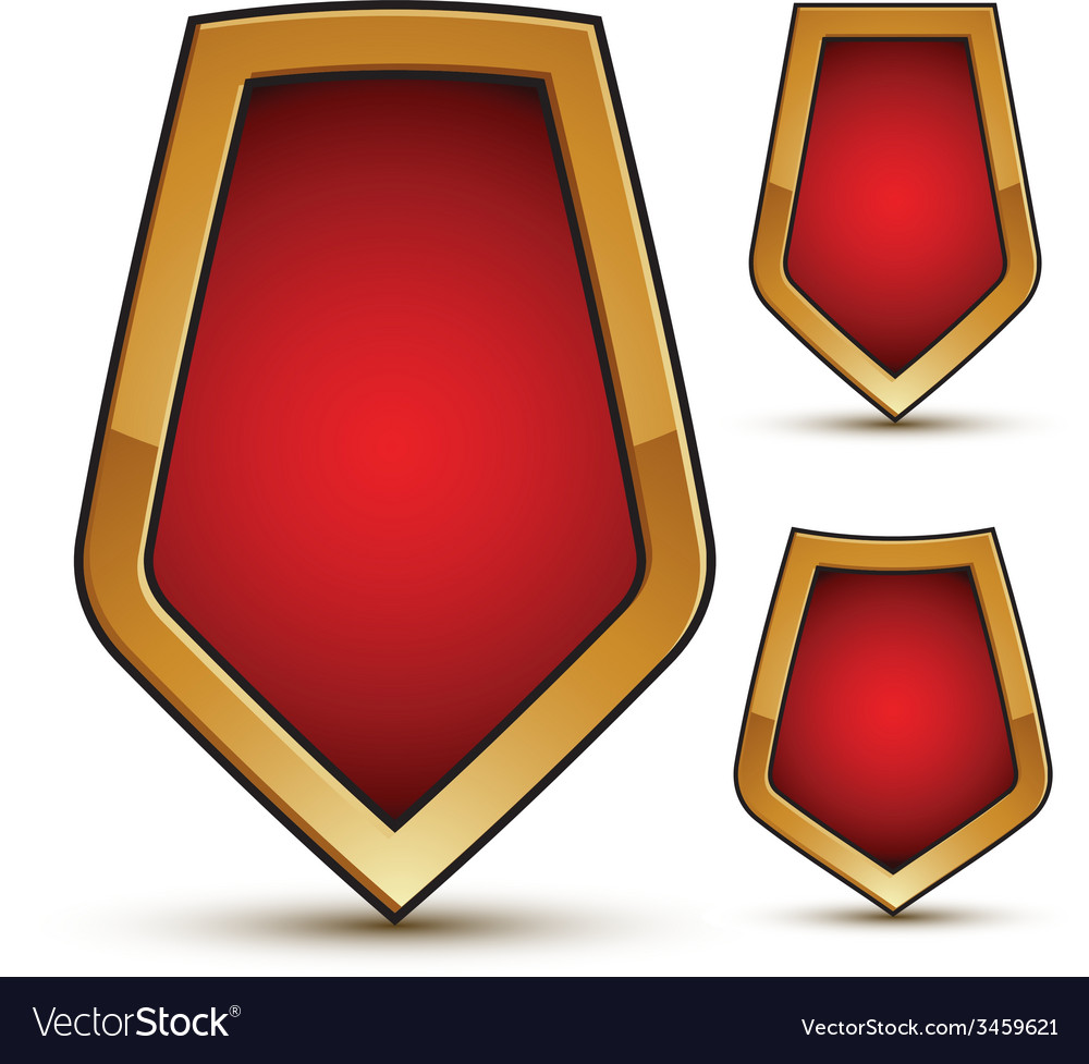 Refined three red shield shape emblems with golden vector | Price: 1 Credit (USD $1)