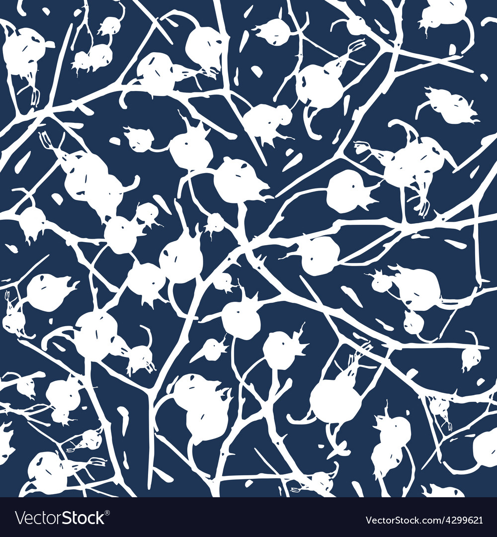 Rosehip branches with berries seamless pattern vector | Price: 1 Credit (USD $1)