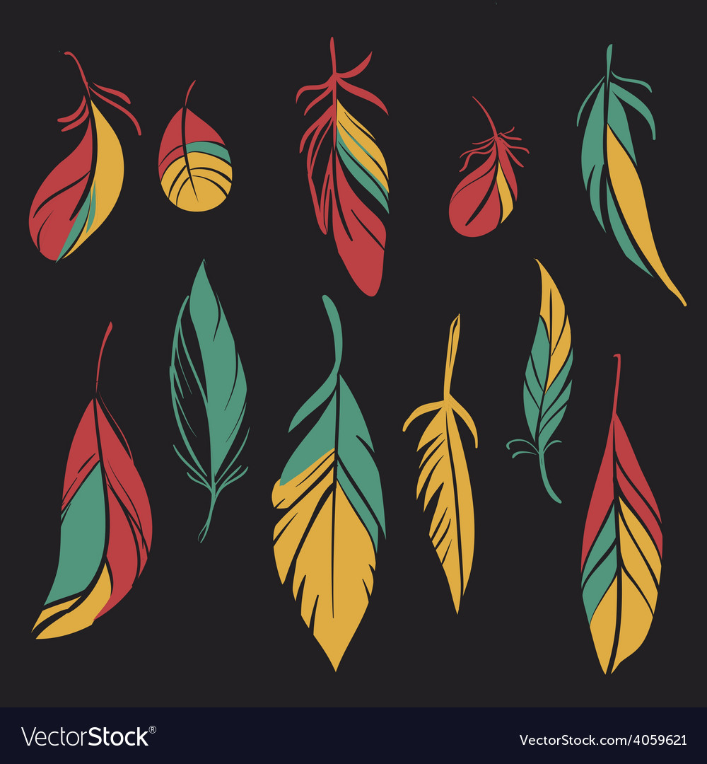 Set of hand drawn feathers vector | Price: 1 Credit (USD $1)