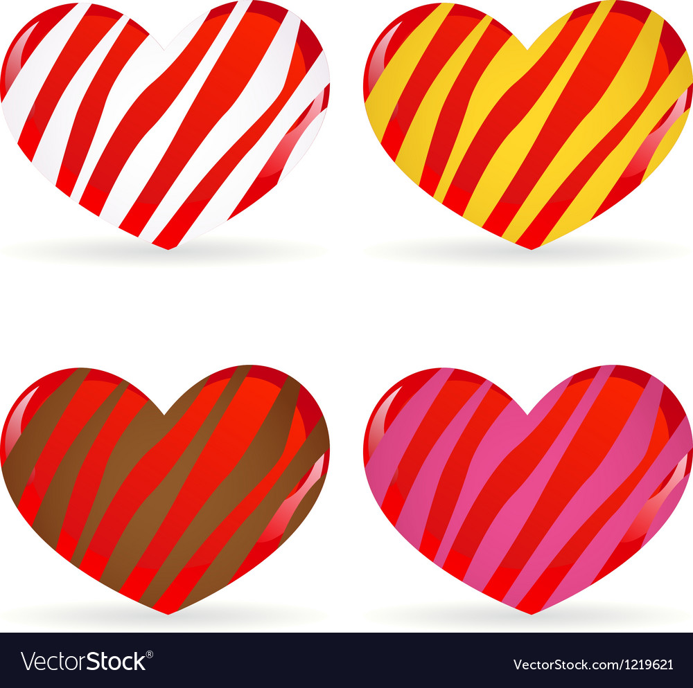Set of striped hearts vector | Price: 1 Credit (USD $1)