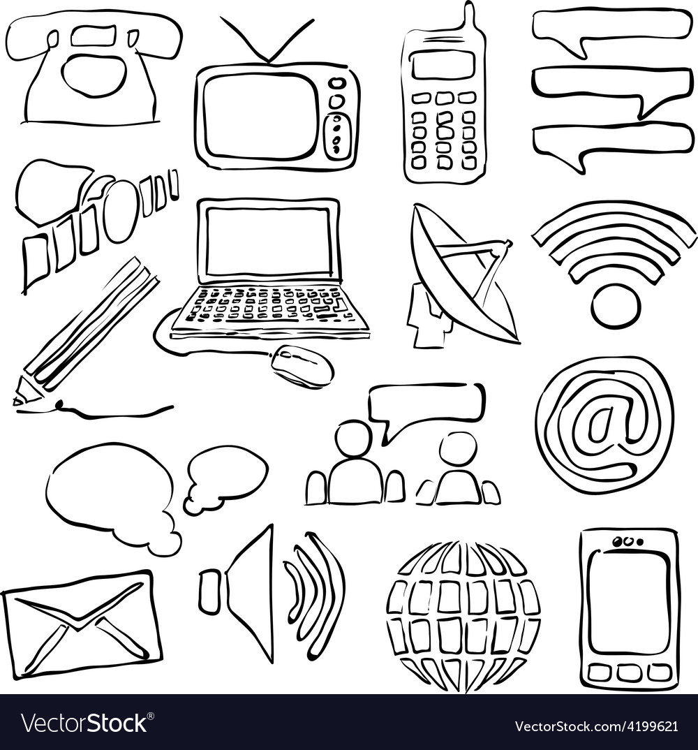 Sketch communication images vector | Price: 1 Credit (USD $1)