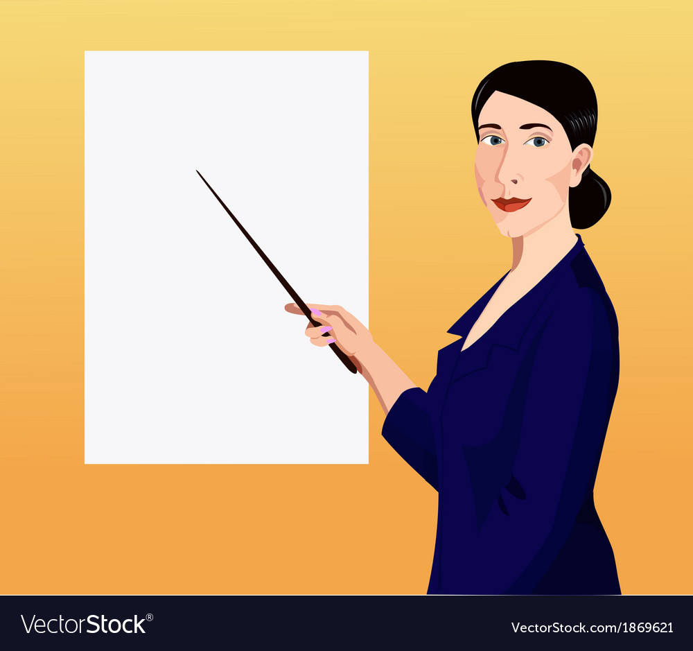 Woman showing by pointer to the poster vector | Price: 1 Credit (USD $1)