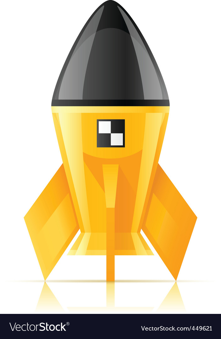 Yellow cosmic rocket vector | Price: 1 Credit (USD $1)
