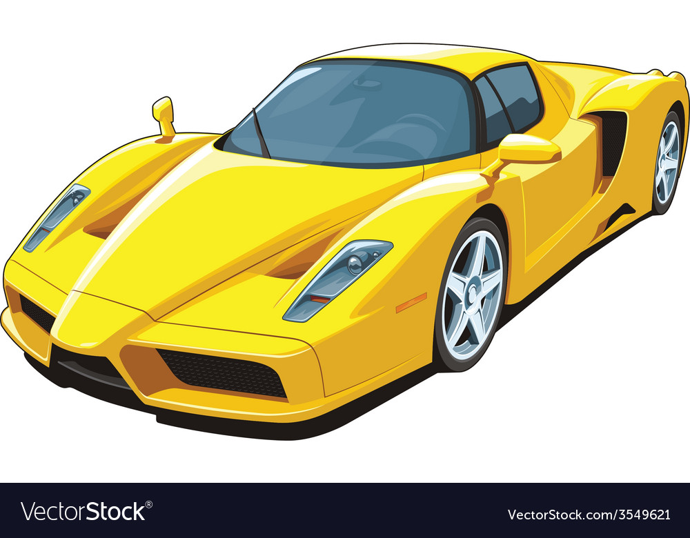 Yellow sports car vector | Price: 3 Credit (USD $3)