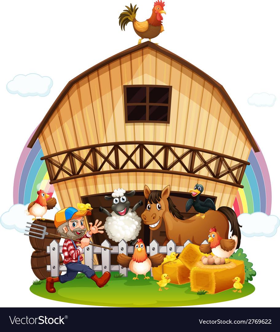 A farm with farm animals vector | Price: 1 Credit (USD $1)