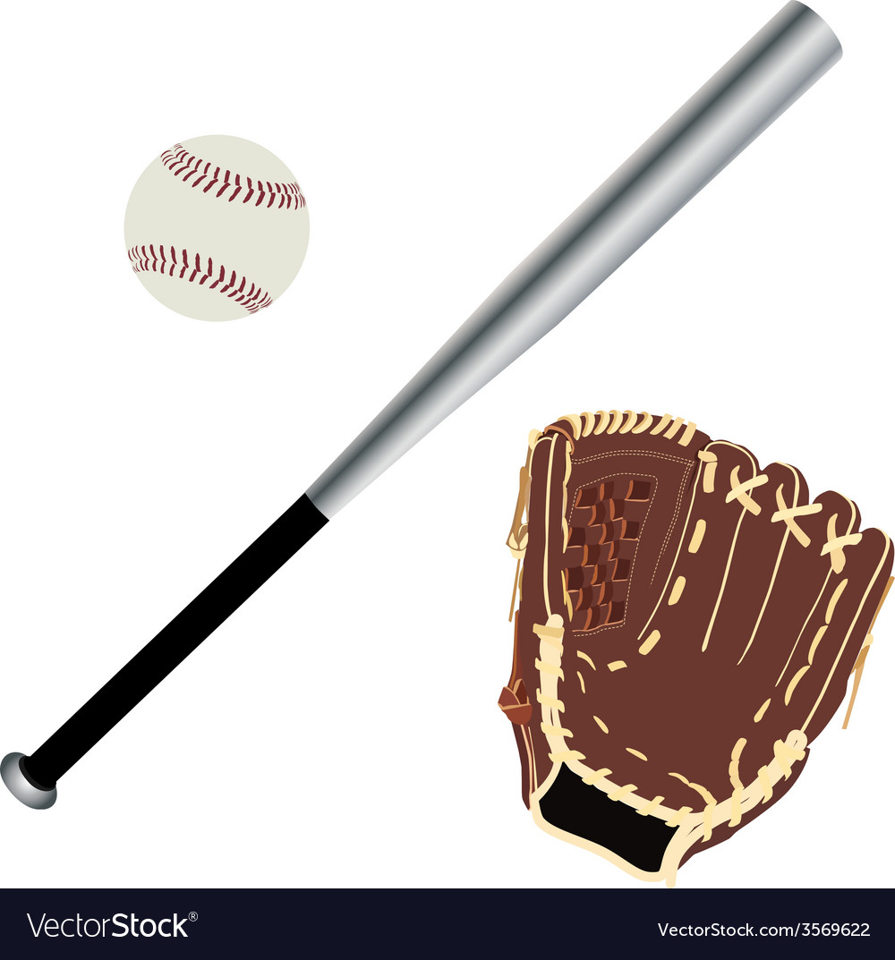 Baseball glove ball and bat vector | Price: 1 Credit (USD $1)