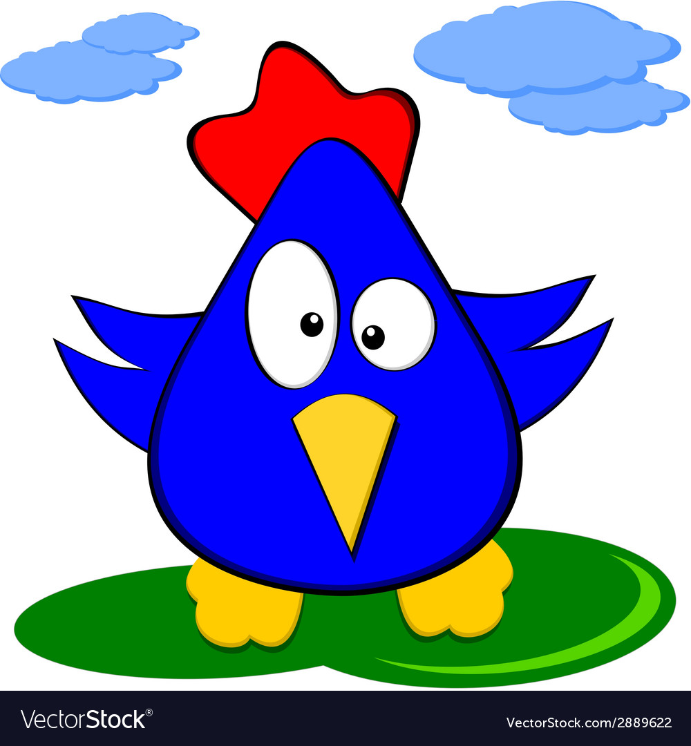 Cartoon funny blue chicken - comics character vector | Price: 1 Credit (USD $1)
