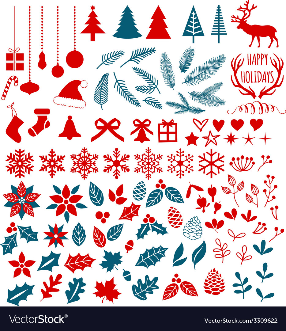 Christmas design elements set vector | Price: 1 Credit (USD $1)