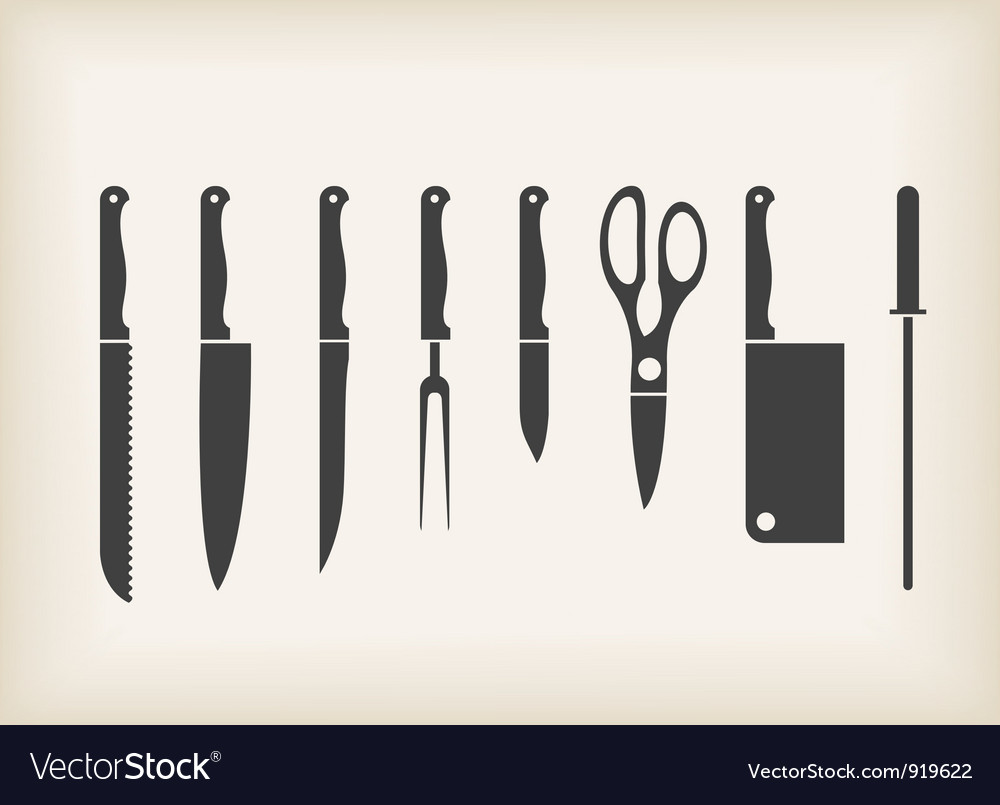 Icons of kitchen knifes vector | Price: 1 Credit (USD $1)
