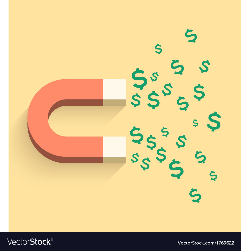 Magnet with money business vector | Price: 1 Credit (USD $1)