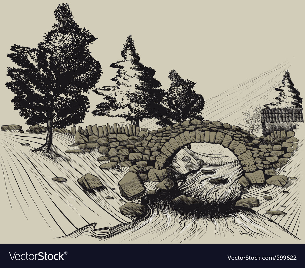 Old stone bridge vector | Price: 3 Credit (USD $3)