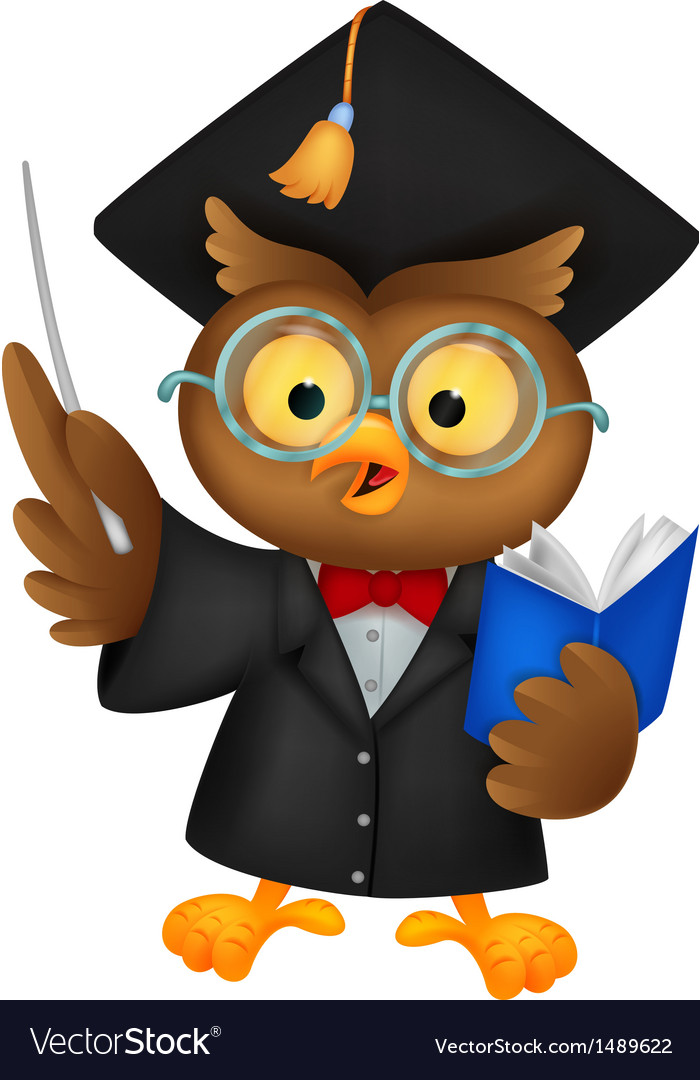 Owl cartoon wearing a graduation uniform giving a vector | Price: 1 Credit (USD $1)
