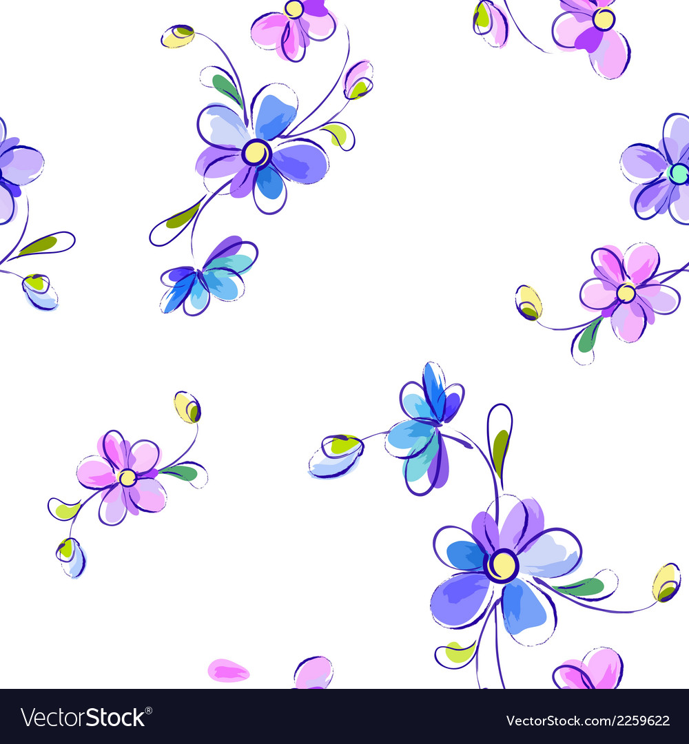 Seamless white pattern with flowers vector | Price: 1 Credit (USD $1)