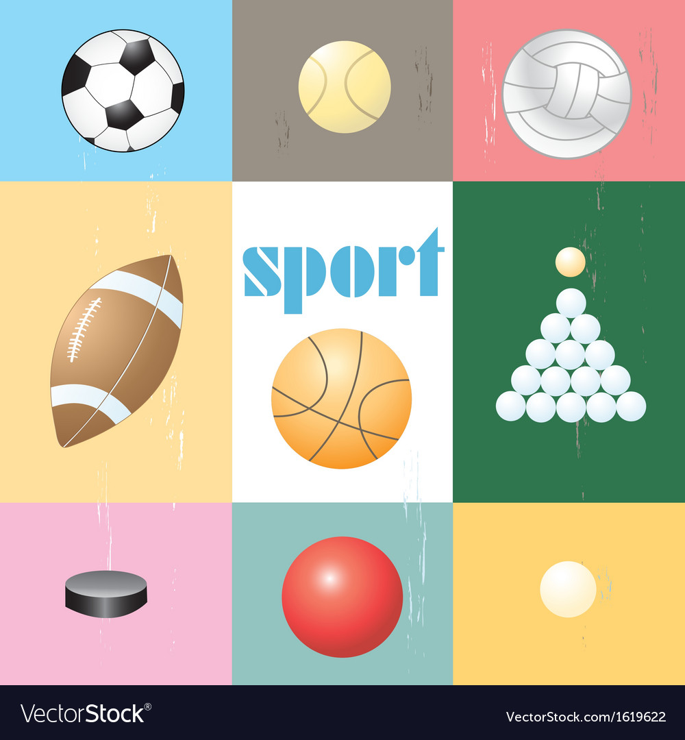 Set of sports balls vector | Price: 1 Credit (USD $1)