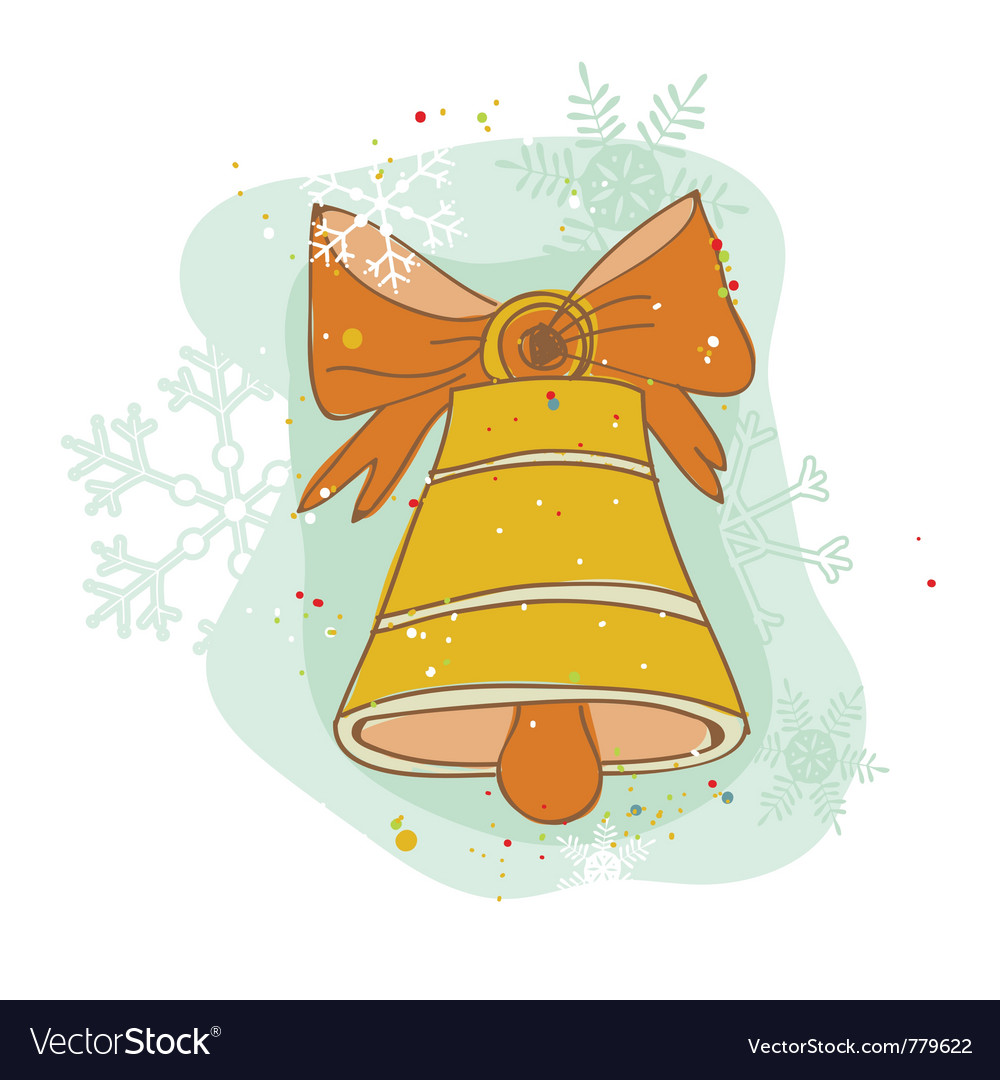 Vintage christmas bell card - for scrapbook design vector | Price: 1 Credit (USD $1)