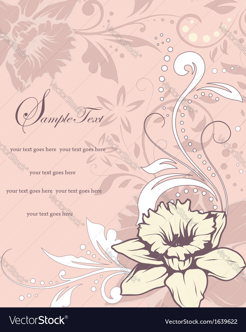 Wedding card or invitation with abstract floral ba vector   Price: 1 Credit (USD $1)