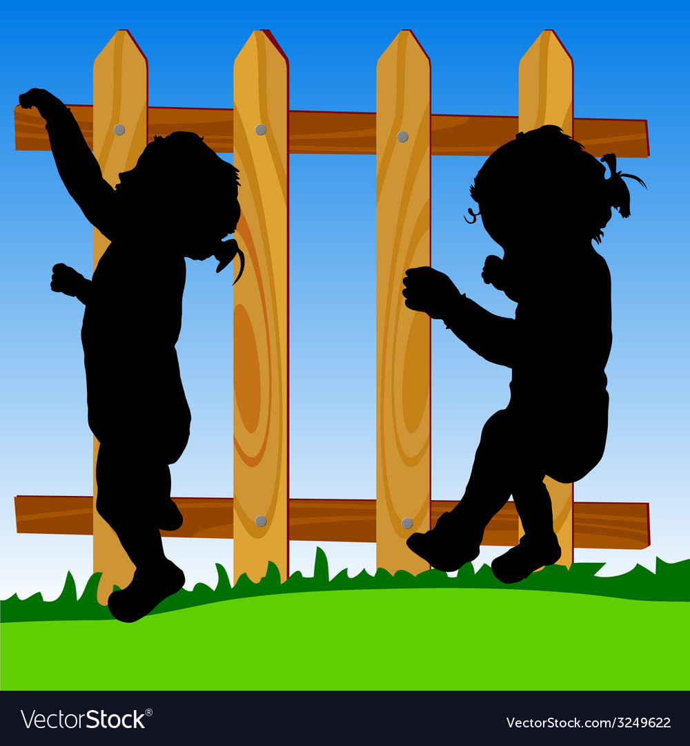 Wooden fence with baby silhouette vector | Price: 1 Credit (USD $1)