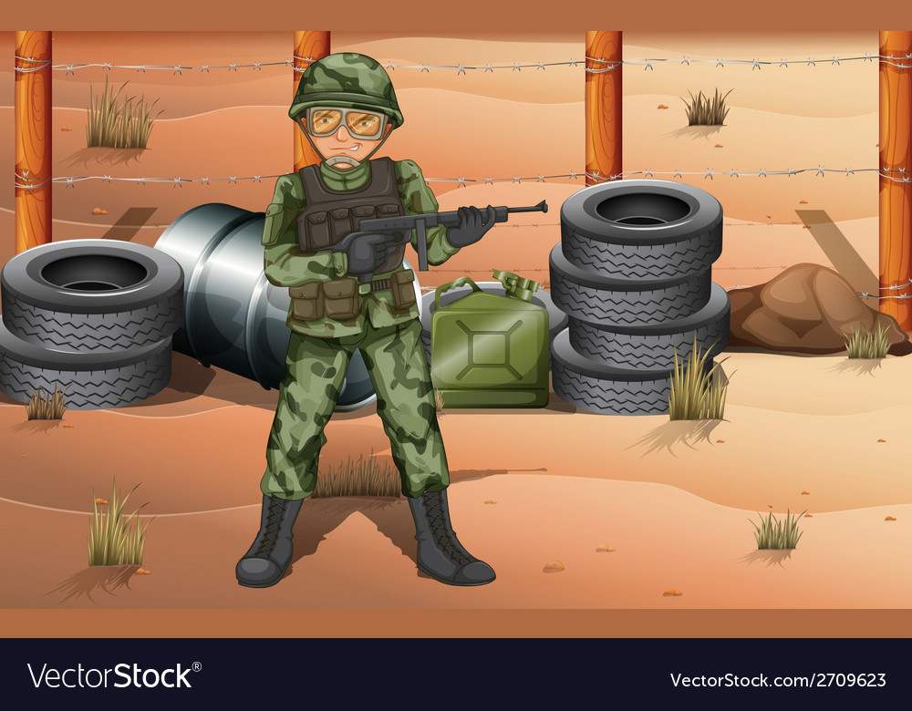 A brave soldier in the battlefield vector   Price: 3 Credit (USD $3)