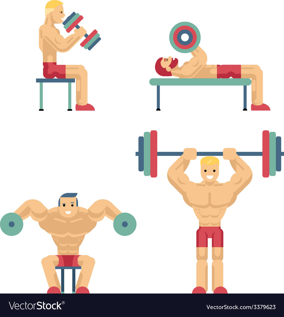 Bodybuilding and weightlifting icons in flat style vector | Price: 1 Credit (USD $1)