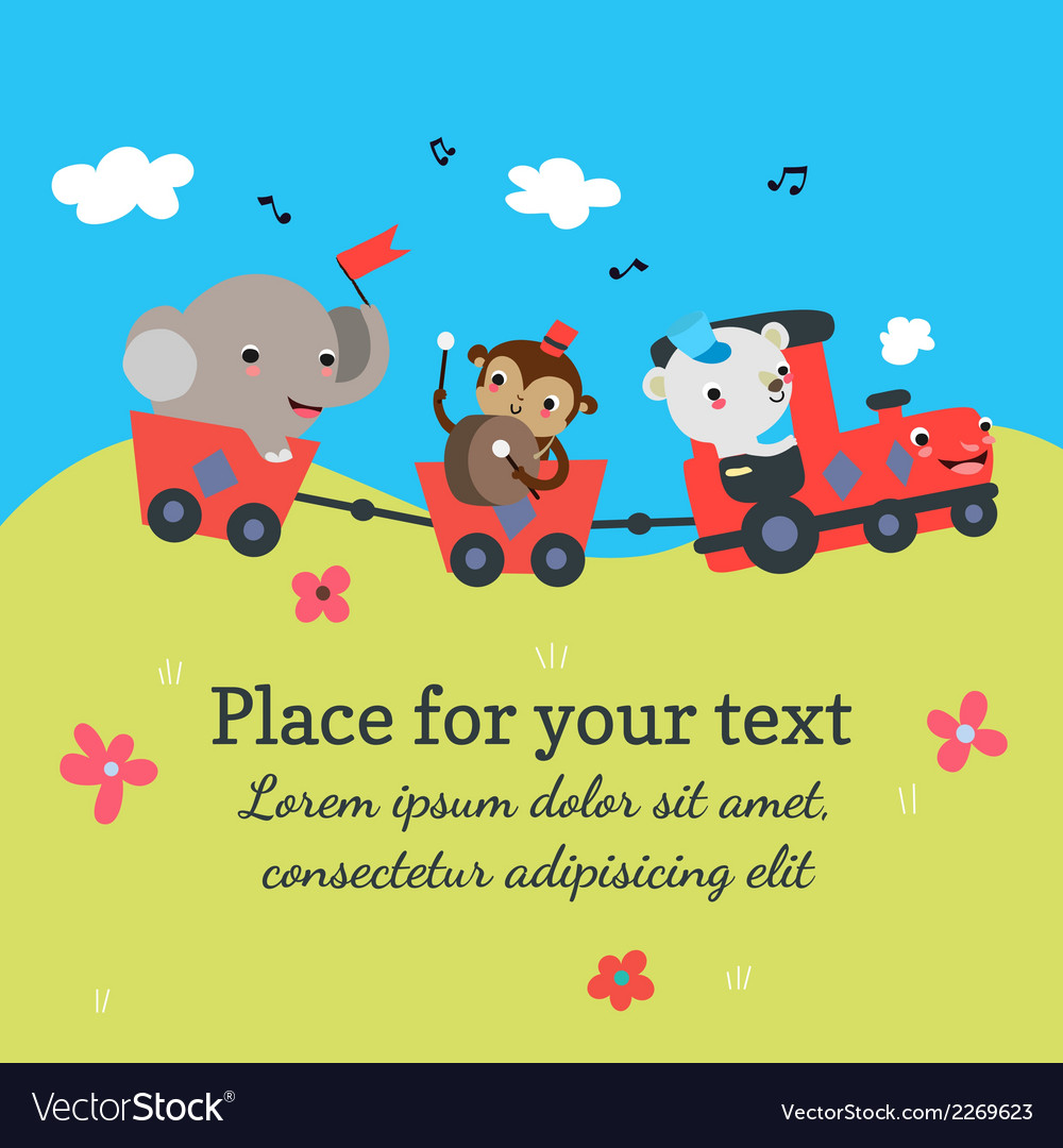 Cartoon train with animals vector | Price: 1 Credit (USD $1)