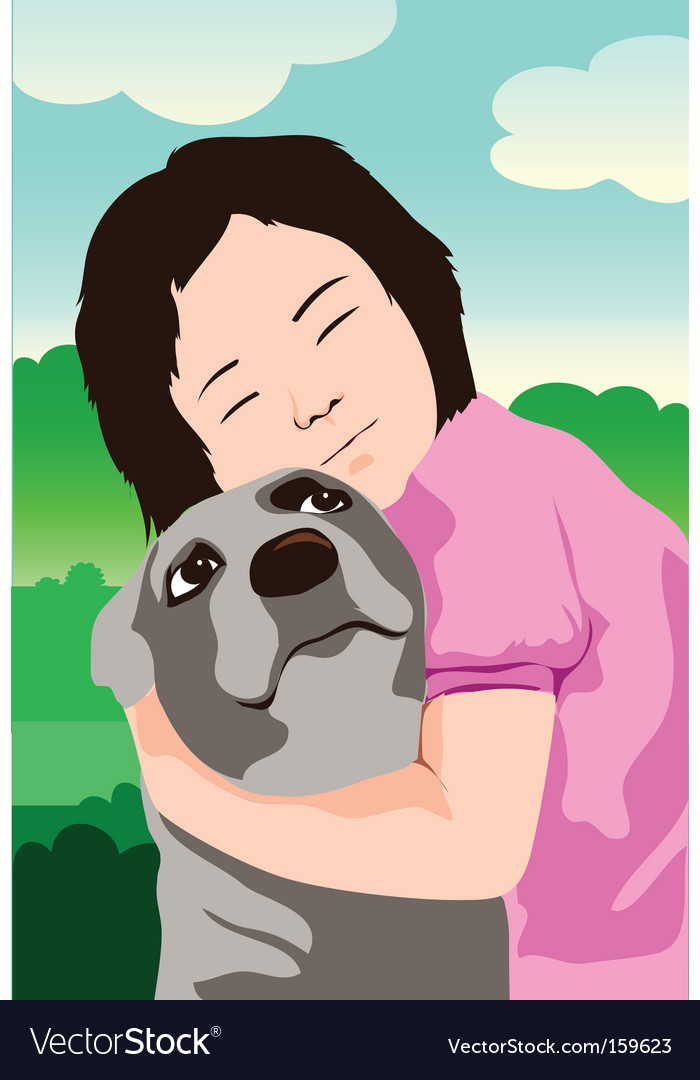 Dog and kid vector | Price: 1 Credit (USD $1)