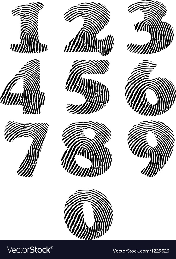 Finger print numbers vector | Price: 1 Credit (USD $1)