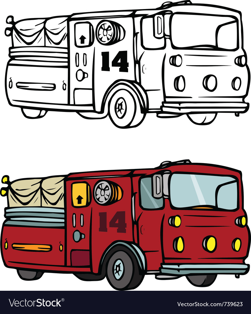 Fire truck coloring book vector | Price: 1 Credit (USD $1)