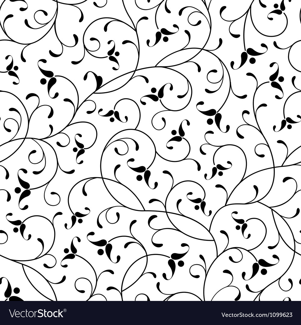 Floral oriental black isolated seamless background vector | Price: 1 Credit (USD $1)