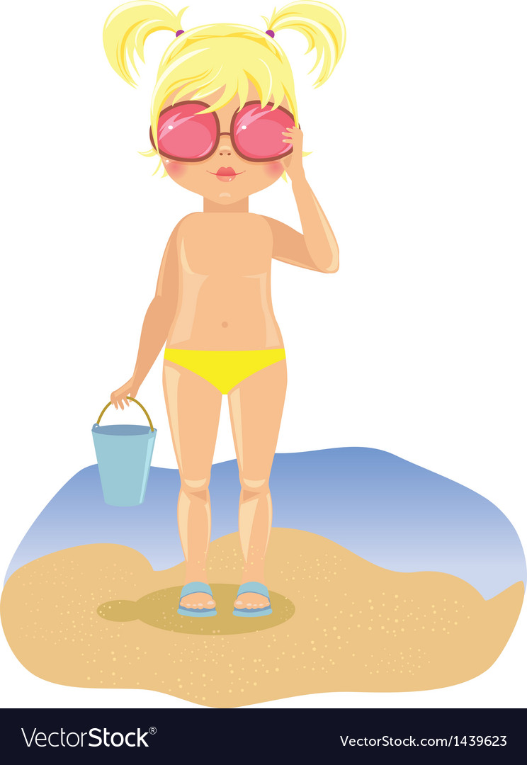 Girl in sunglasses on the beach vector | Price: 3 Credit (USD $3)