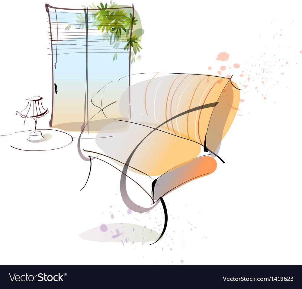 Home lounge sketch vector | Price: 1 Credit (USD $1)