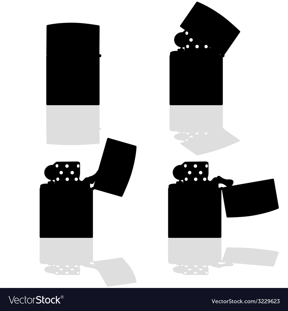 Lighter in four positions open silhouette vector | Price: 1 Credit (USD $1)