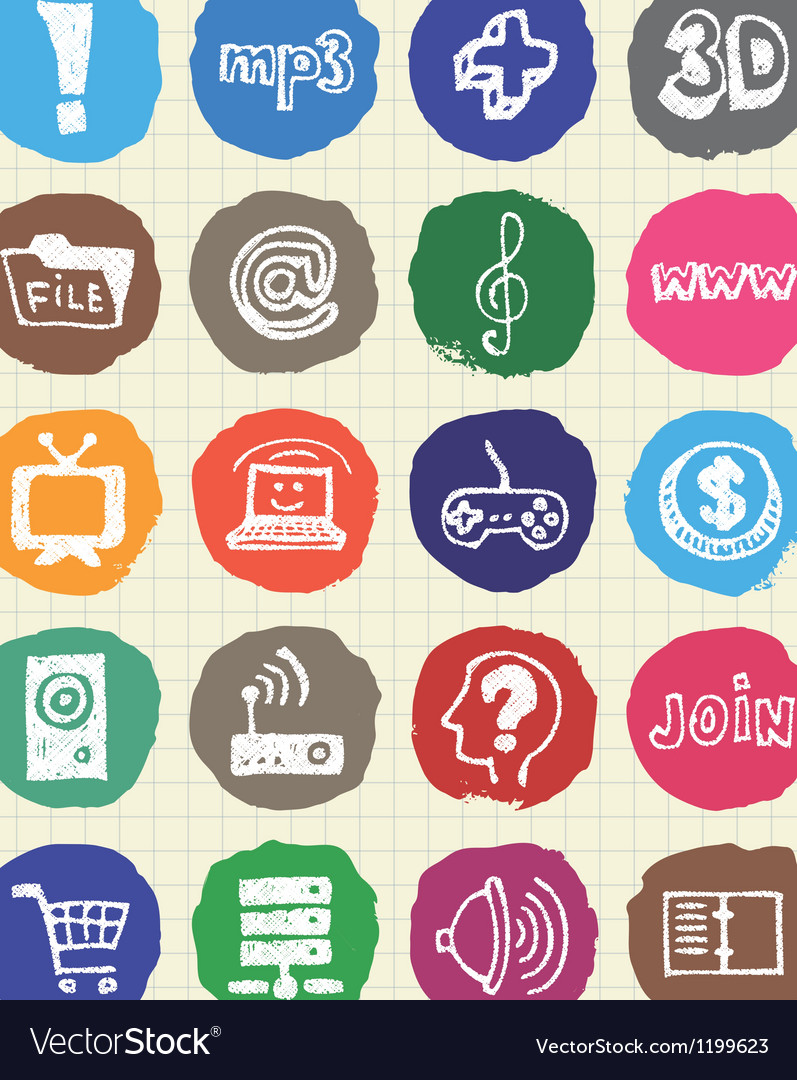 Media and social network web icons set vector | Price: 1 Credit (USD $1)
