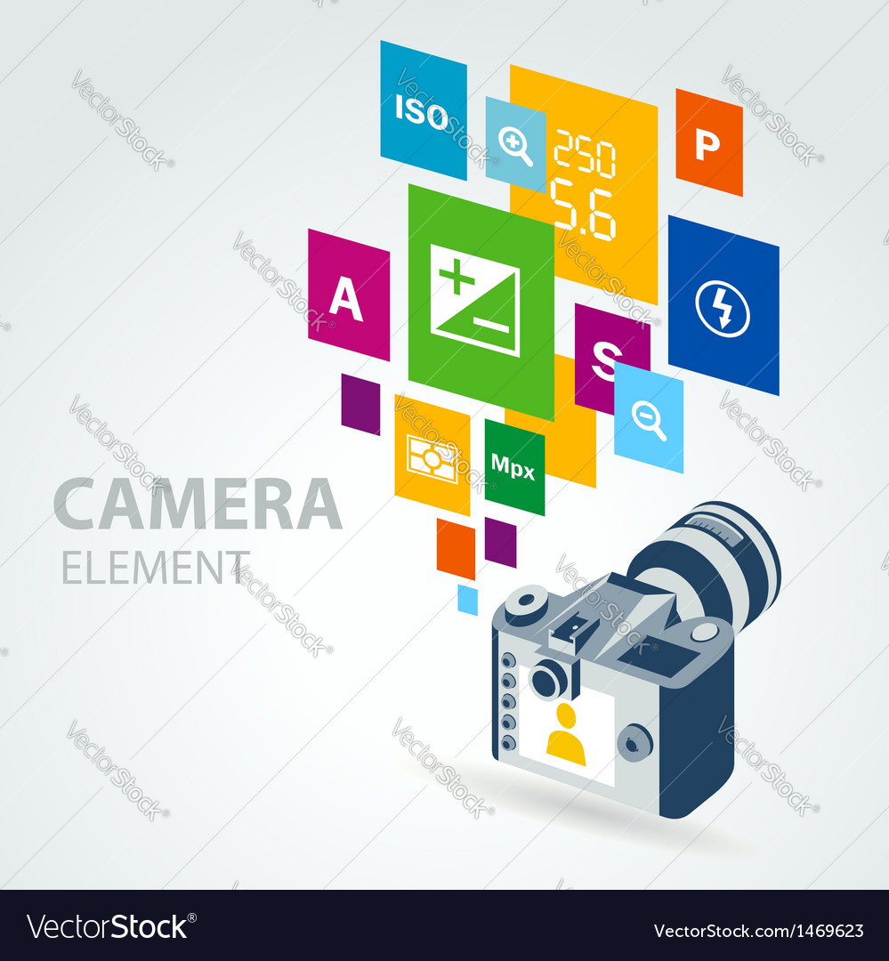 Photo camera element icons vector | Price: 1 Credit (USD $1)