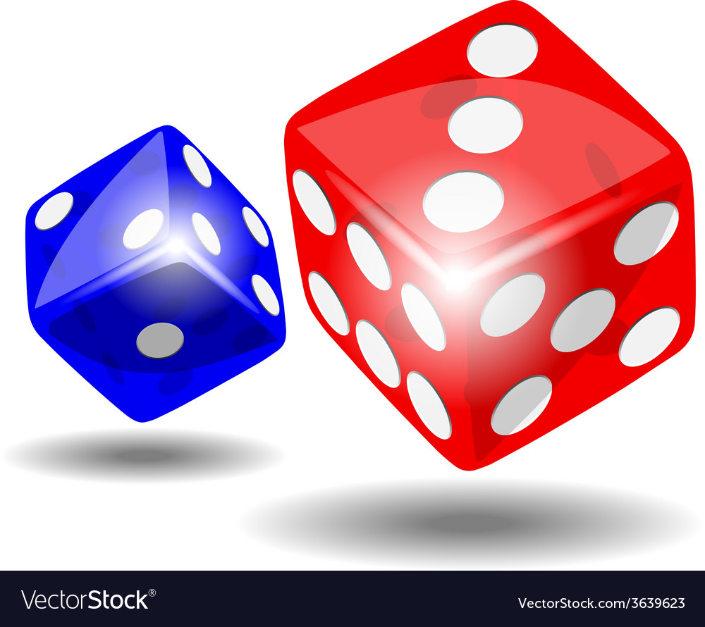 Red and blue dice vector | Price: 1 Credit (USD $1)