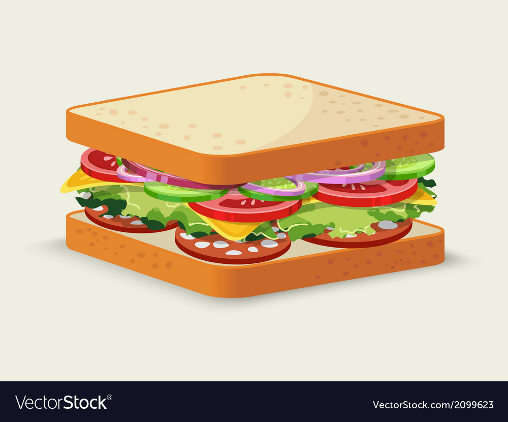Salami sandwich emblem vector | Price: 1 Credit (USD $1)