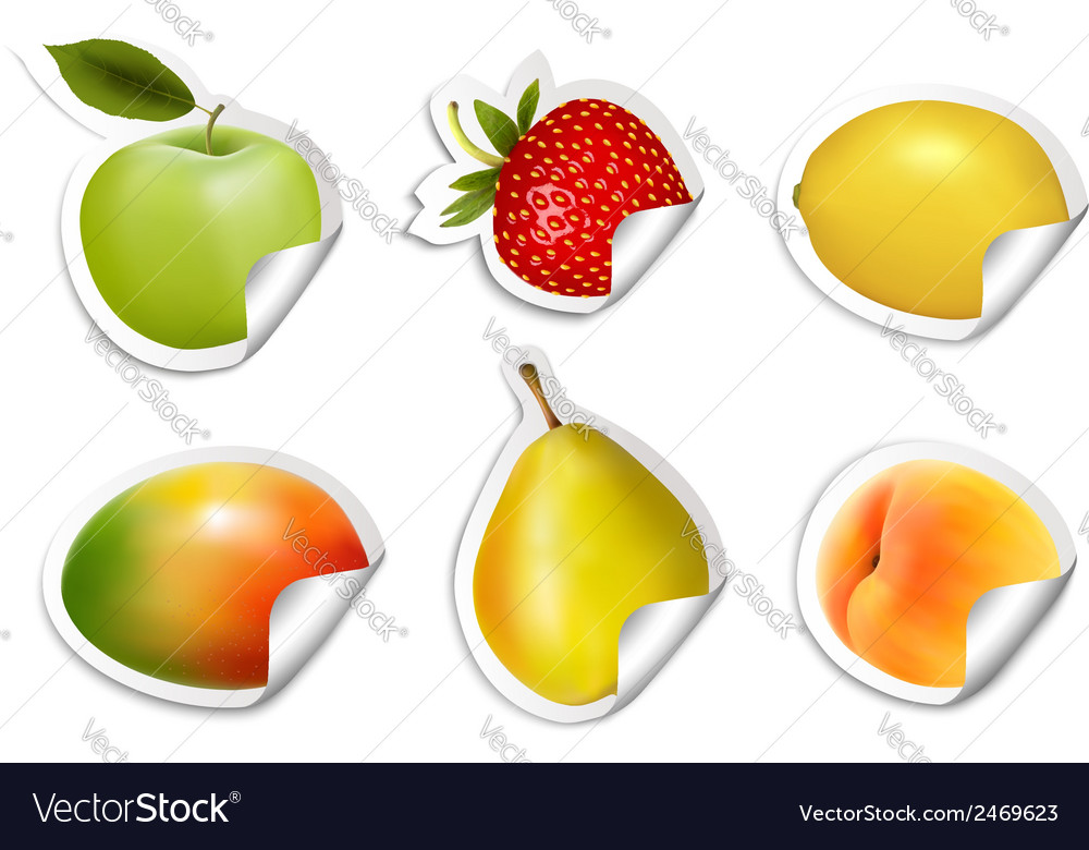 Set of flat fruit stickers vector | Price: 1 Credit (USD $1)