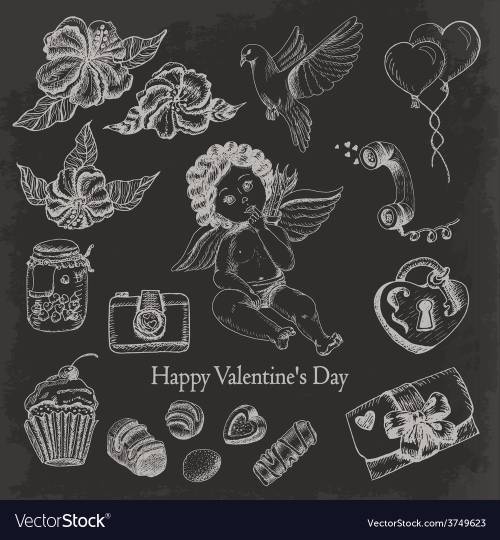 Set of hand drawn vintage valentines day vector | Price: 1 Credit (USD $1)