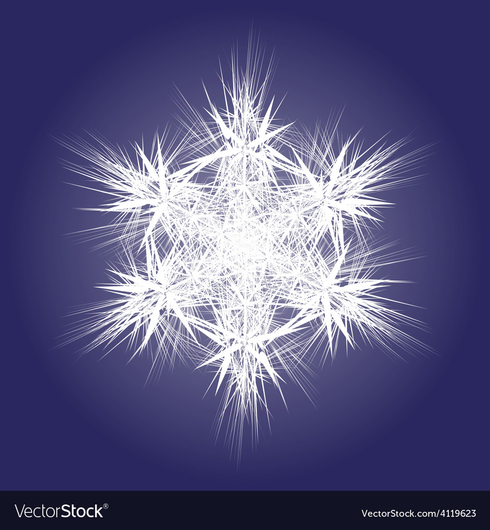 Spiky white snowflake on dark background vector | Price: 1 Credit (USD $1)