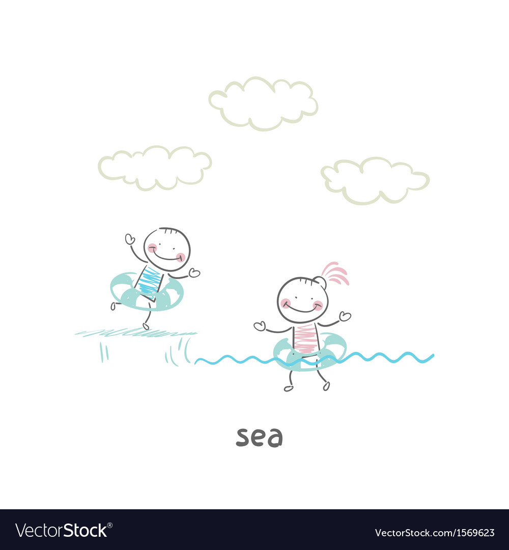 Swim in the sea vector | Price: 1 Credit (USD $1)