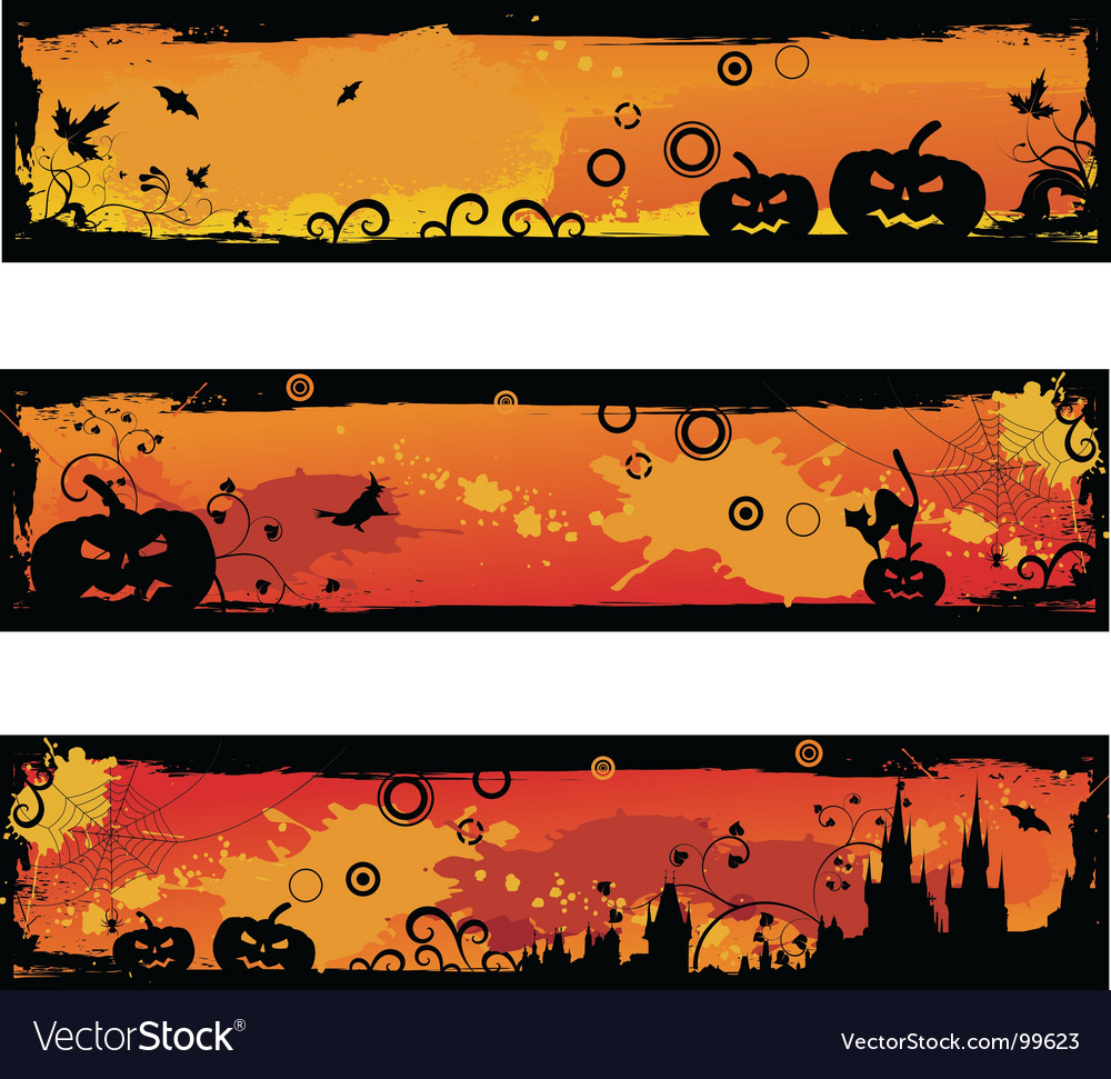 Three grunge halloween banners vector | Price: 1 Credit (USD $1)