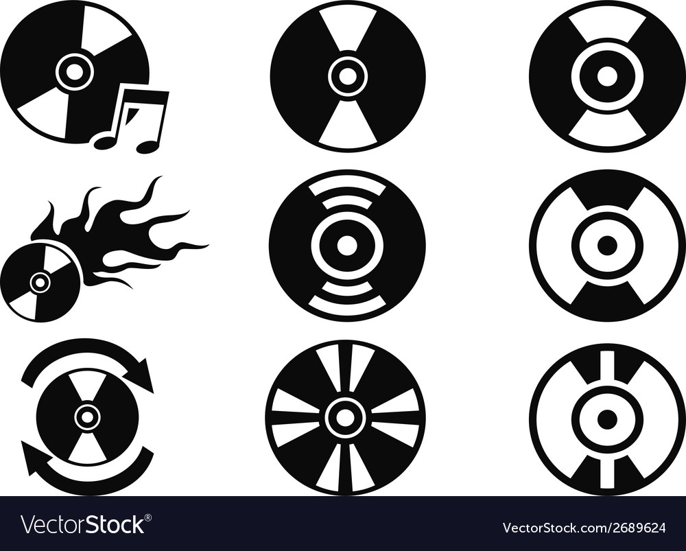 Black cd icons set vector | Price: 1 Credit (USD $1)