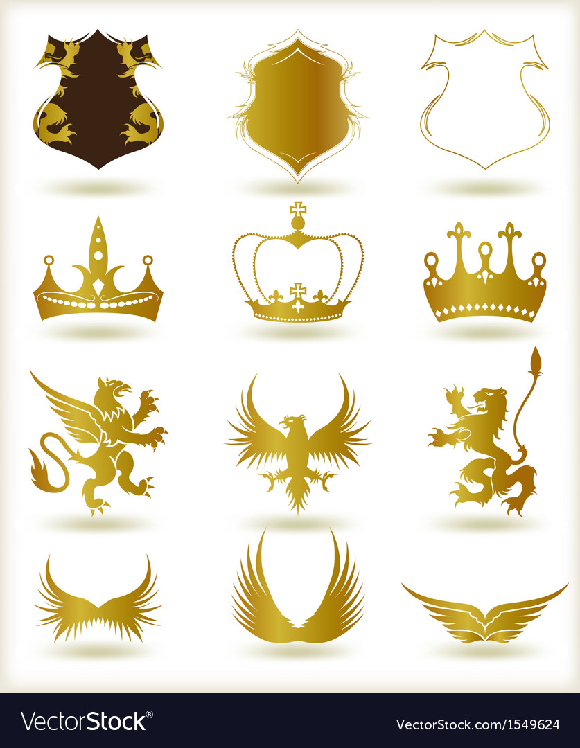 Collection heraldic gold elements vector   Price: 1 Credit (USD $1)