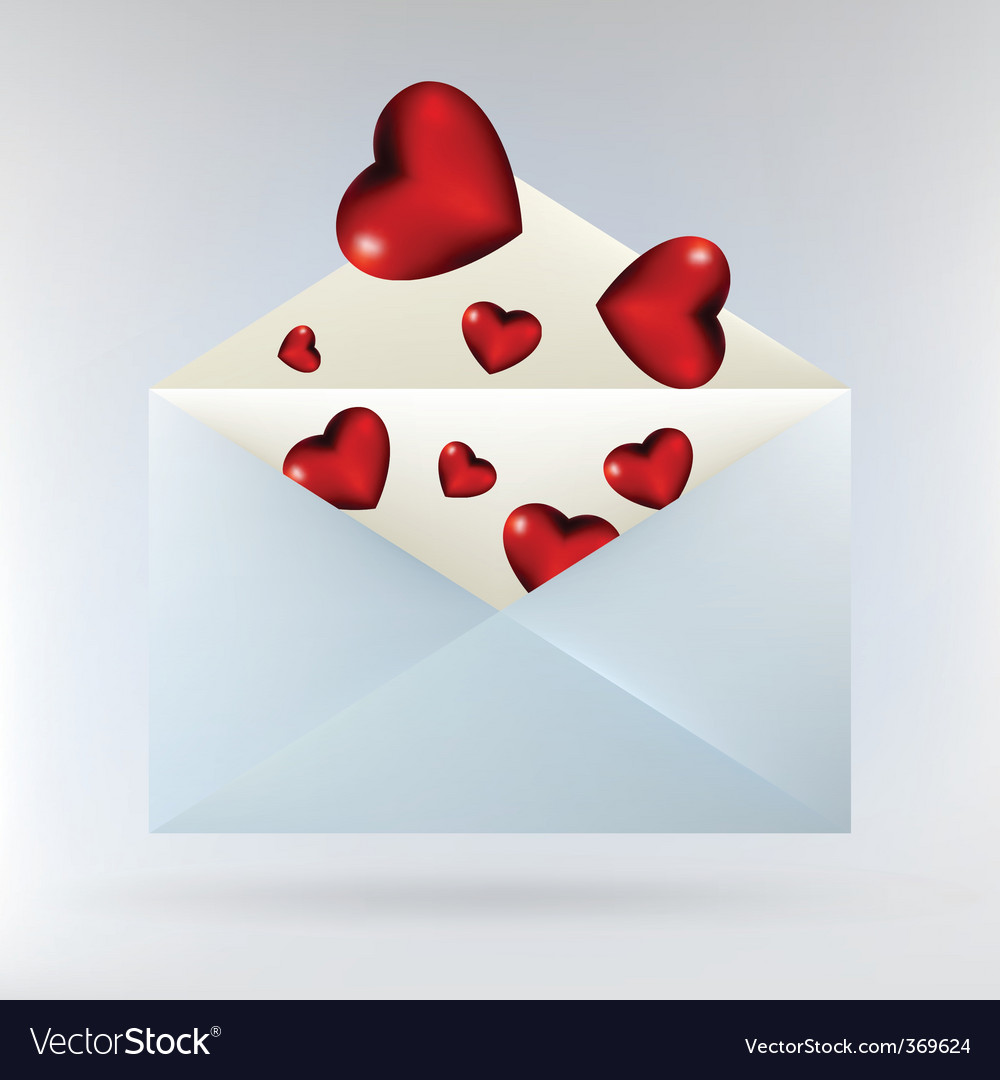 Envelope with glassy red hearts vector | Price: 1 Credit (USD $1)