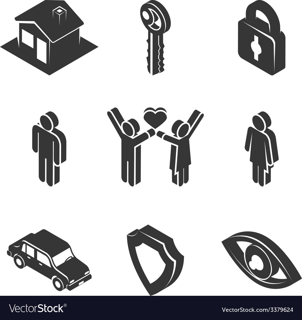 Family and property icons vector | Price: 1 Credit (USD $1)
