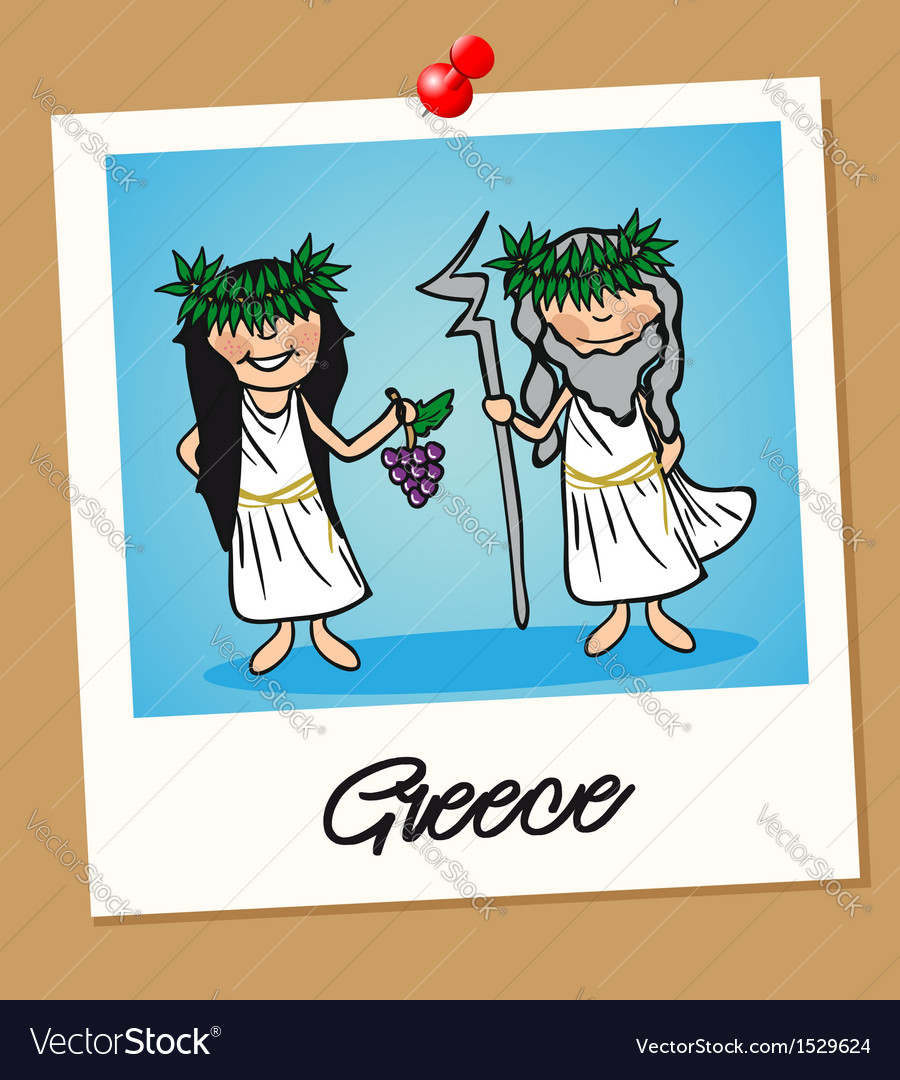 Greece travel polaroid people vector | Price: 1 Credit (USD $1)