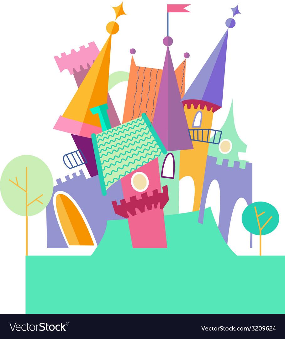 Magical fabulous cartoon castle flat vector | Price: 1 Credit (USD $1)