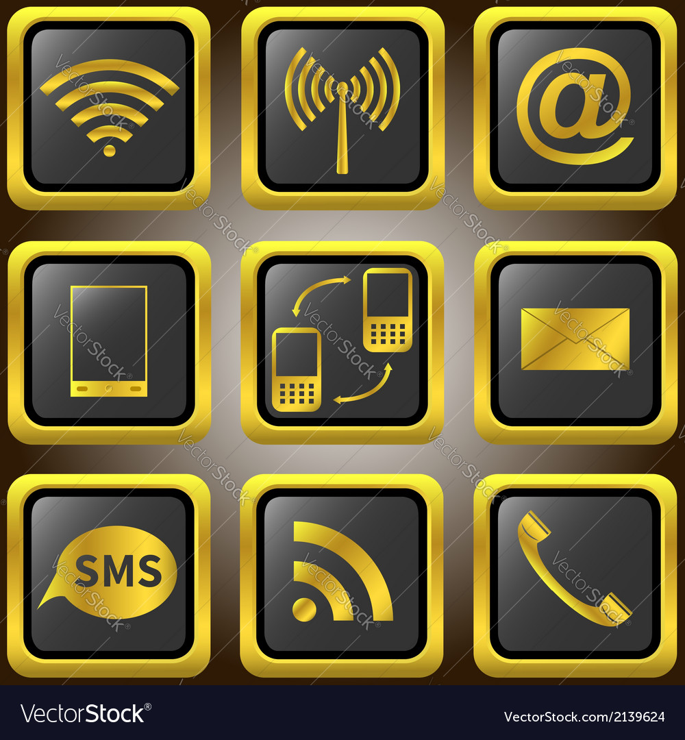 Mobile phone golden icons vector | Price: 1 Credit (USD $1)