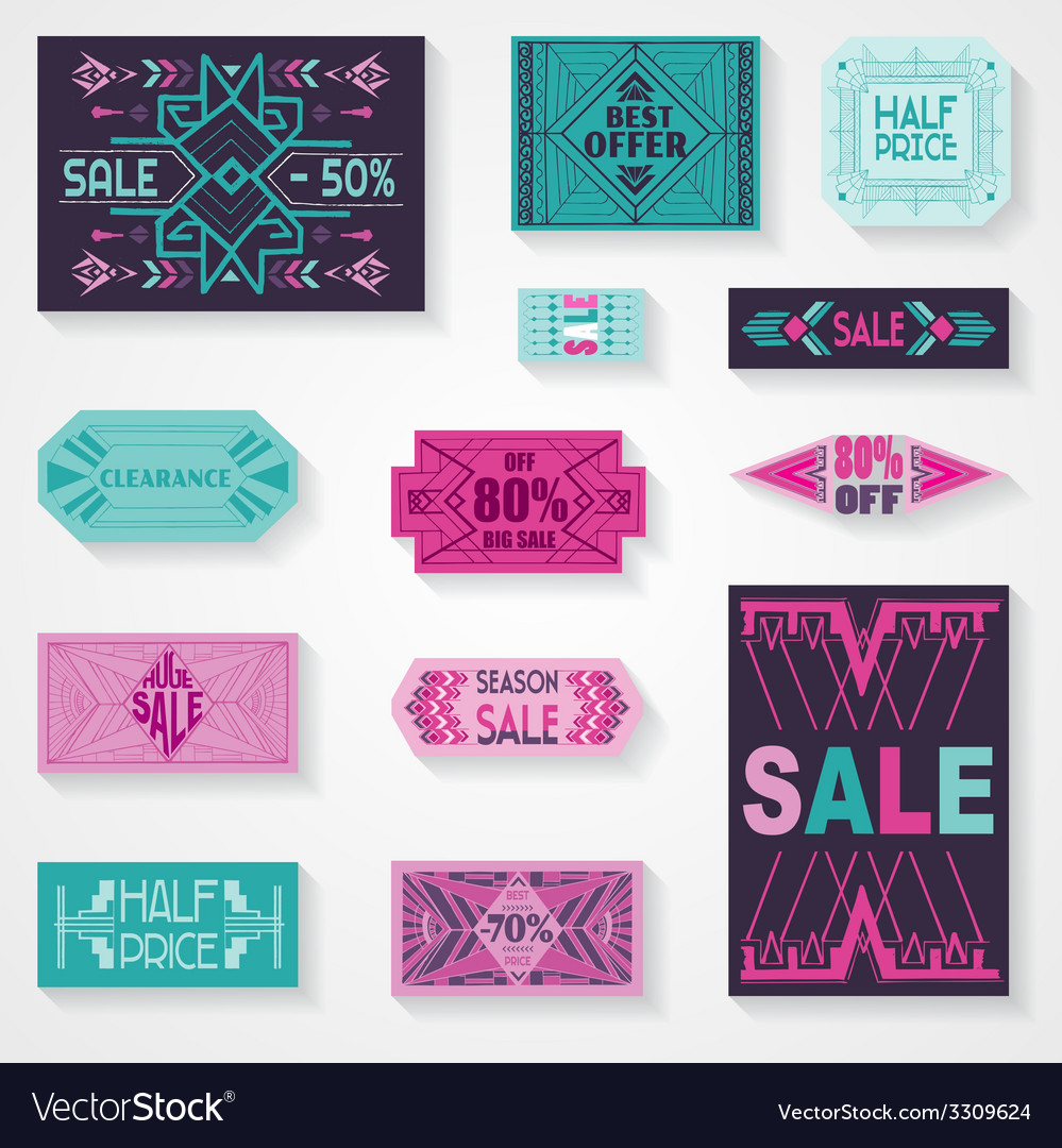 Sale tags and labels - tribal and aztec style vector | Price: 1 Credit (USD $1)