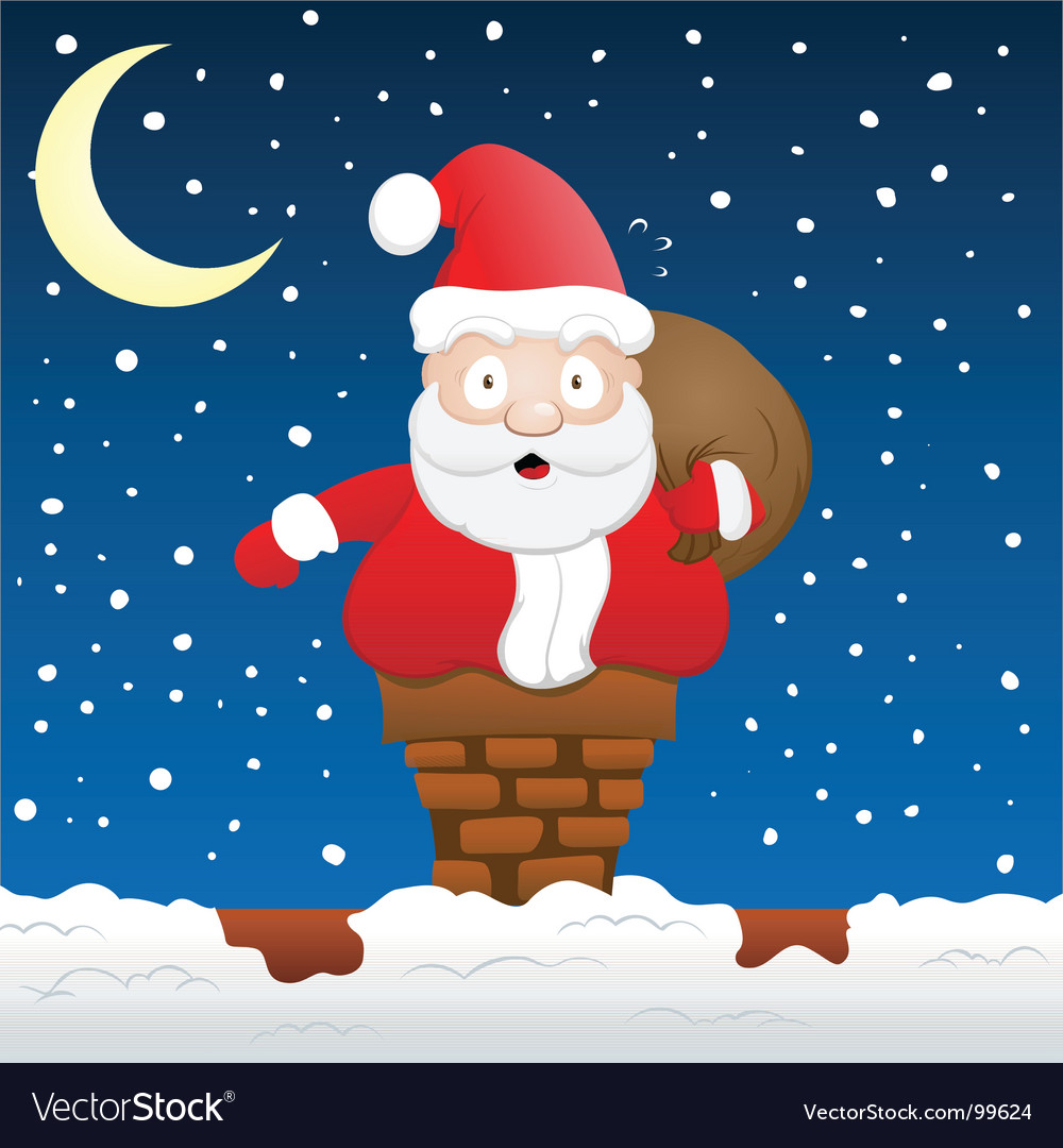 Santa stuck on chimney vector | Price: 1 Credit (USD $1)