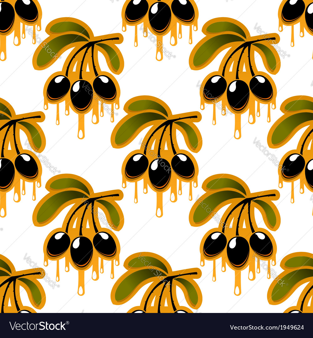 Seamless pattern of olive oil dripping from olives vector | Price: 1 Credit (USD $1)